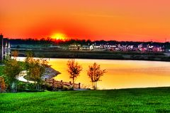 Sunset. Beautiful sunset picture taken in a residential community Stock Photos