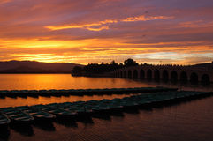 Sunset. At Kunminghu Lake in the Summer Palace (Yiheyuan Stock Images
