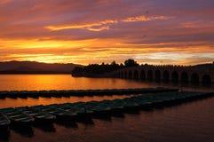 Sunset. At Kunminghu Lake in the Summer Palace (Yiheyuan) Beijing, China Stock Images
