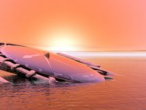 Sunset. 3d illustration . Abstraction 3d landscape with compass Stock Photography