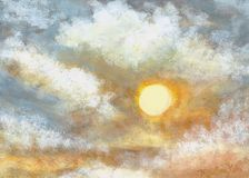 Sunset. Beautiful hand painted acrylic on canvas. Natural sunset Royalty Free Stock Photography
