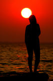 Sunset. Silhouette in the front of the sunset Royalty Free Stock Photography