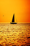 Sunset. Sailboat in the setting sun on lake Michigan, Michigan City, Indiana Stock Images