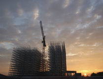 Sunset. Milk factory in construction while taking off with a balloon royalty free stock image