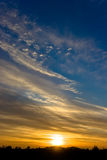 Sunset. Nice colors, blue, yellow , sun Royalty Free Stock Image