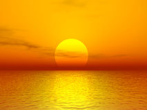 Sunset. Scarlet sunset over ocean. 3D rendered scene Royalty Free Stock Image