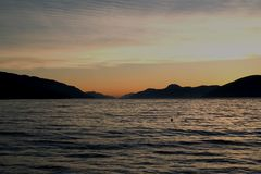 Sunset. Over Loch Ness Scotland Stock Photo