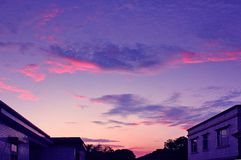Sunset. The sunset has tinted the sky with pink Royalty Free Stock Photo