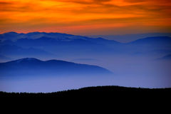 Sunset. Colorful sunset above the mountains Royalty Free Stock Photo