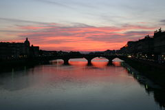 Sunset. Bridge over the river Arno, Florence, Italy Stock Photography