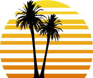 Sunset. Vector illustration with two palm trees and stylized sunset Royalty Free Stock Images