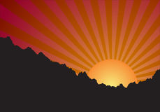 Sunset. Over a mountain with orange sky illustration Stock Photos