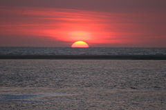 The sunset. A sunset at the isand Borkum-Germany stock photo
