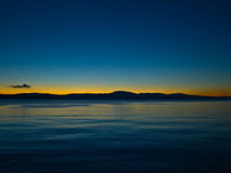Sunset. Wonderful colors of sunset on Croatian strand Stock Photography