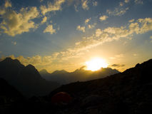 Sunset. Mountains. Caucasus. Kabardino-Balkariya. Bezengi. Sunset Royalty Free Stock Image