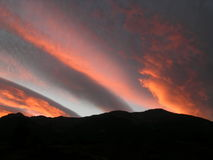 Sunset. Mountains sunset in the french alps royalty free stock images