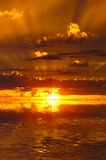 Sunset. Gorgeous sunset with golden rays stock photography