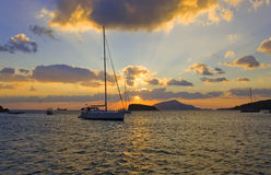 Beautiful sunset in a bay at Sounion. Attica - Greece Royalty Free Stock Images