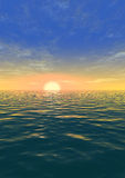 Sunset. Illustration representing a sunset against the quiet sea Stock Photo