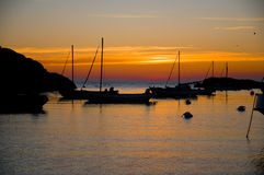 Sunset. A sunset with boats in a bay Stock Photography