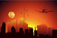 Sunset. Vector illustration of city sunset Royalty Free Stock Photography