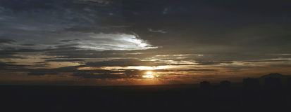 Sunset. Cloudy sunset Panorama royalty free stock photography
