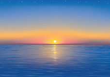 Sunset. Beautiful Sunset and stars at the seaside Stock Photography
