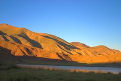 Sunset. In lake Tolbo-Noor Stock Photography