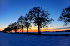 Sunset. With snow covered street Royalty Free Stock Photography