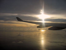 Sunset from Above. The sun is about to set above the Indian Ocean, as viewed from an airplane Royalty Free Stock Photography