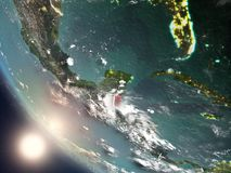 Sunset above Belize from space. Illustration of Belize as seen from Earth's orbit during sunset with visible country borders. 3D illustration. Elements of this Stock Images