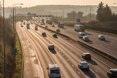 Sunset above British motorway M25 Stock Photo