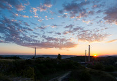 Sunset above the chimney, chemical industry. Sunset above the city chimney, chemical industry royalty free stock image