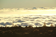 Sunset above the cloouds in Tenerife royalty free stock images