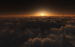 Sunset above clouds Stock Photo