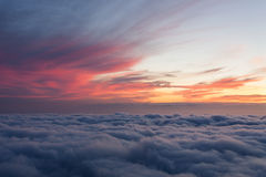 Sunset above clouds. Beautiful clouds near Madeira island Royalty Free Stock Images