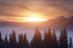 Sunset in the winter mountains. Sunset above the clouds in the mountains in winter Stock Photos