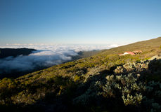 Sunset above the clouds. Reunion, near Piton de la Fournaise Royalty Free Stock Photos