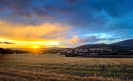 Sunset above Conero national park hills, Italy Royalty Free Stock Photos