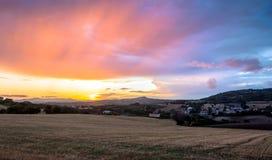Sunset above Conero national park hills, Italy Stock Photo