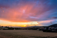 Sunset above Conero national park hills, Italy Royalty Free Stock Image