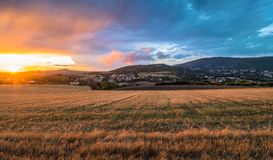 Sunset above Conero national park hills, Italy Stock Image