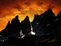Sunset above the Dolomites - Italy. Sunset above the mountains Pale di San Martino, Dolomites - Italy Royalty Free Stock Photos