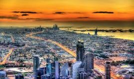 Sunset above Dubai - United Arab Emirates Royalty Free Stock Photography