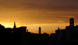 Sunset above a forum. rome stock photo