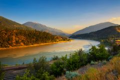 Sunset above Fraser River in Lytton, Canada. Sunset above Fraser River in Lytton,  Canada. Lytton is situated in British Columbia at the confluence of the Royalty Free Stock Photos