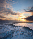 Sunset above frozen lake Royalty Free Stock Photography