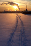 Sunset above the frozen Neva Stock Photos