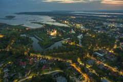 Sunset above Kuressaare Castle stock photos