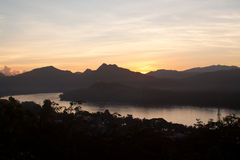 Sunset above Mekong river in Luang Prabang, Laos Stock Images